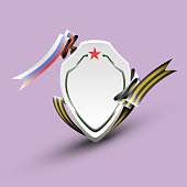 A banner in the shape of a shield with St. George ribbon and ribbon in color flag of Russia - vector eps10