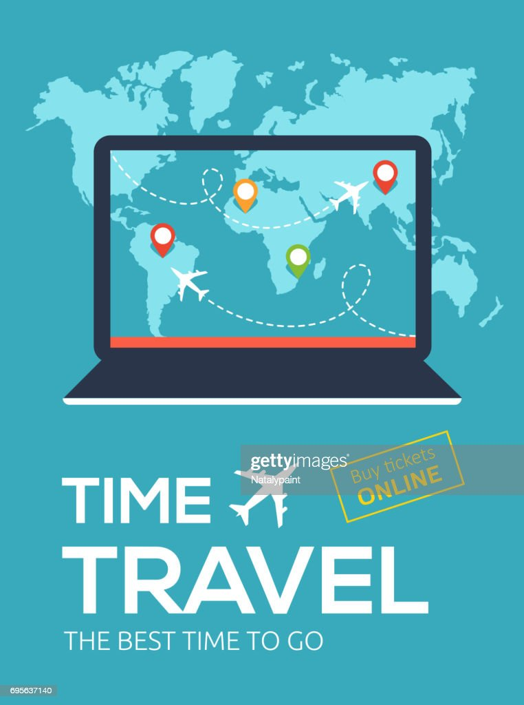 Banner of Travel Company. Illustration for Online flight booking service.Time travel. The best time to go.