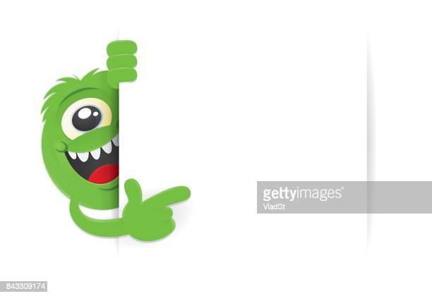 banner one-eyed green monster creature - monster stock illustrations, clip art, cartoons, & icons