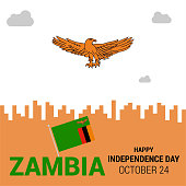 Banner or poster of Zambia independence day celebration. Waving flag. Vector illustration.
