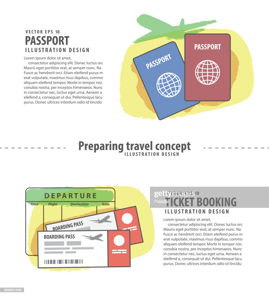 Banner Passport & Ticket booking Preparing travel concept set illustration vector on white background. Travel concept.
