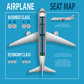 Banner, poster, flyer with airplane seats plan. Business and economy classes top view Aircraft information map. Realistic passenger aircraft indoor seating chart. Vector illustration