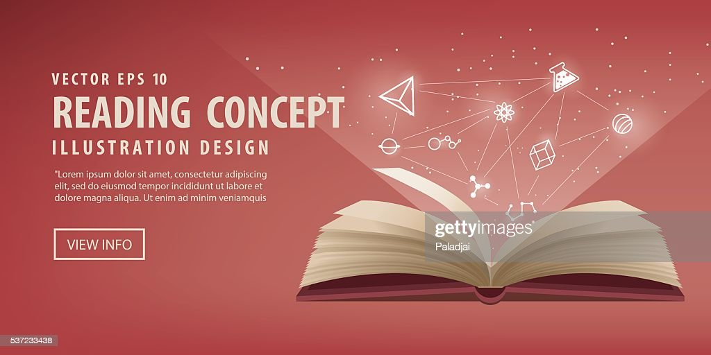 Banner red book open, the icon refers to knowledge vector.