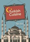 banner restaurant Turkish cuisine with Hagia Sophia