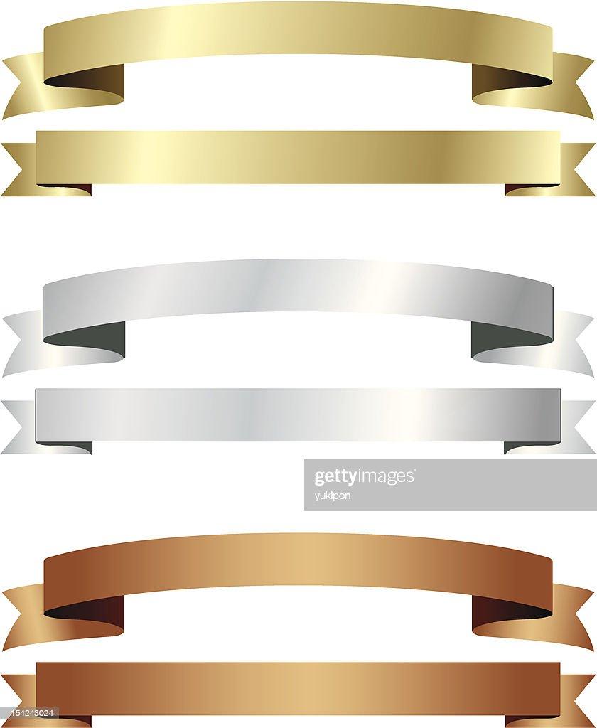 banner ribbon gold silver copper