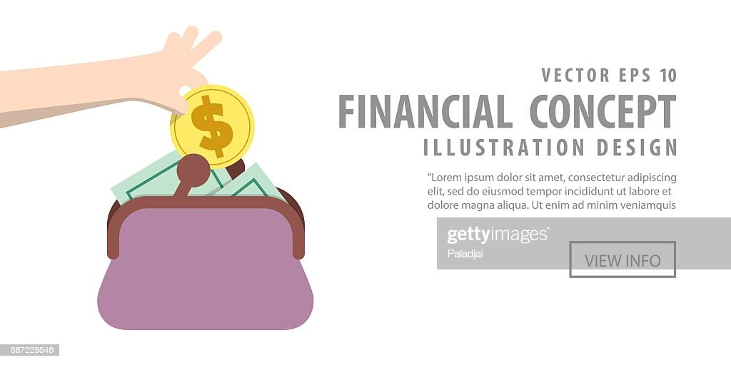 Banner Saving Money and spending with purse illustration vector.