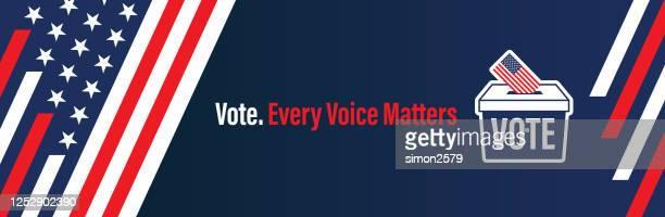 ilustrações de stock, clip art, desenhos animados e ícones de banner set of election ballot box with a combination of american flag - election