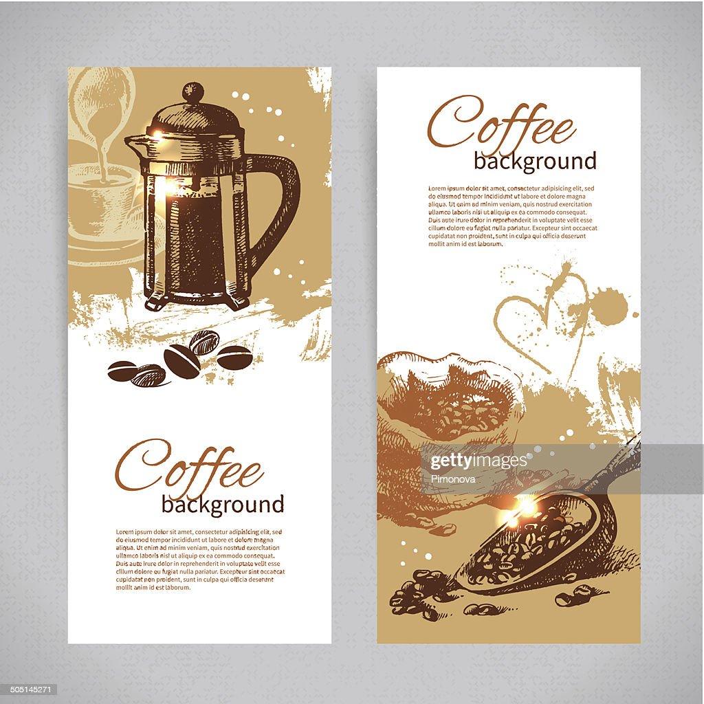 Banner set of vintage coffee backgrounds. Menu for restaurant, c