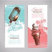 Banner set of vintage hand drawn sweet backgrounds
