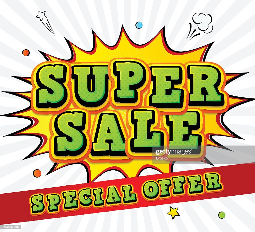 Banner super sale, discount. Pop Art Style, comic book