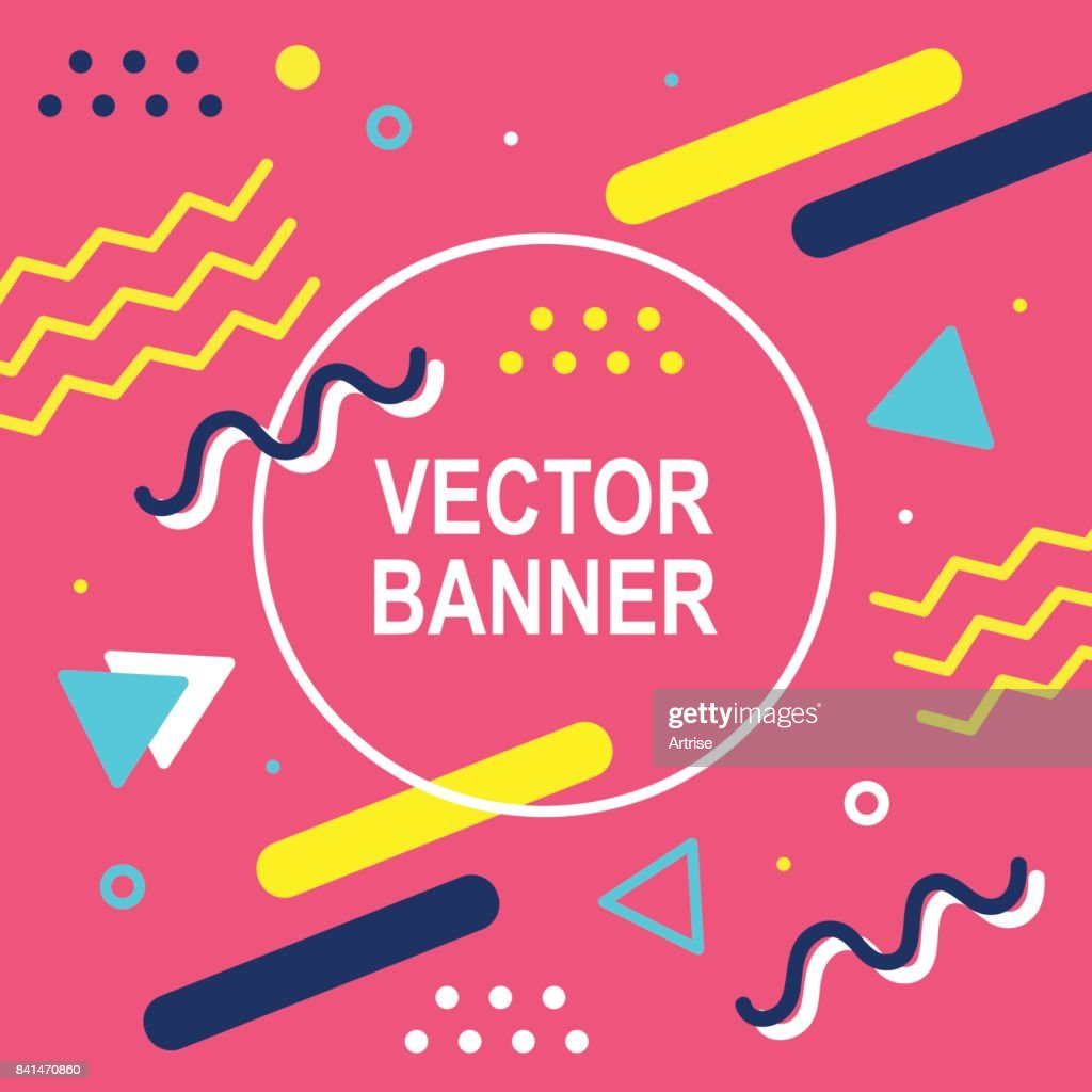 Banner template. 80-90s trendy fashion background with geometric shapes