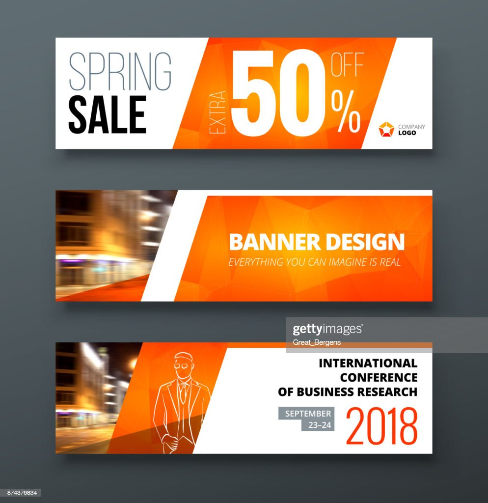 Banner template design. Presentation concept. Orange Corporate business banner template background. Horizontal template banner stand or flag design layout. For conference, forum, shop, web site.