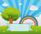 Banner template with tree and rainbow in garden
