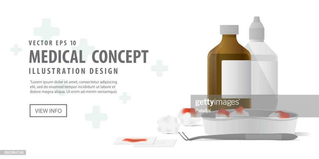 Banner tool and equipment for clean the wound illustration vector on white background. Medical concept.