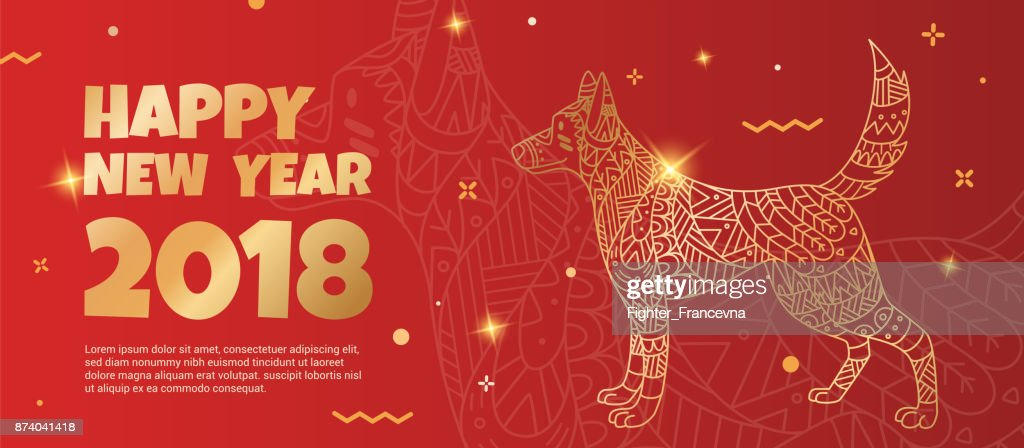 Banner with a gold dog on a red background.