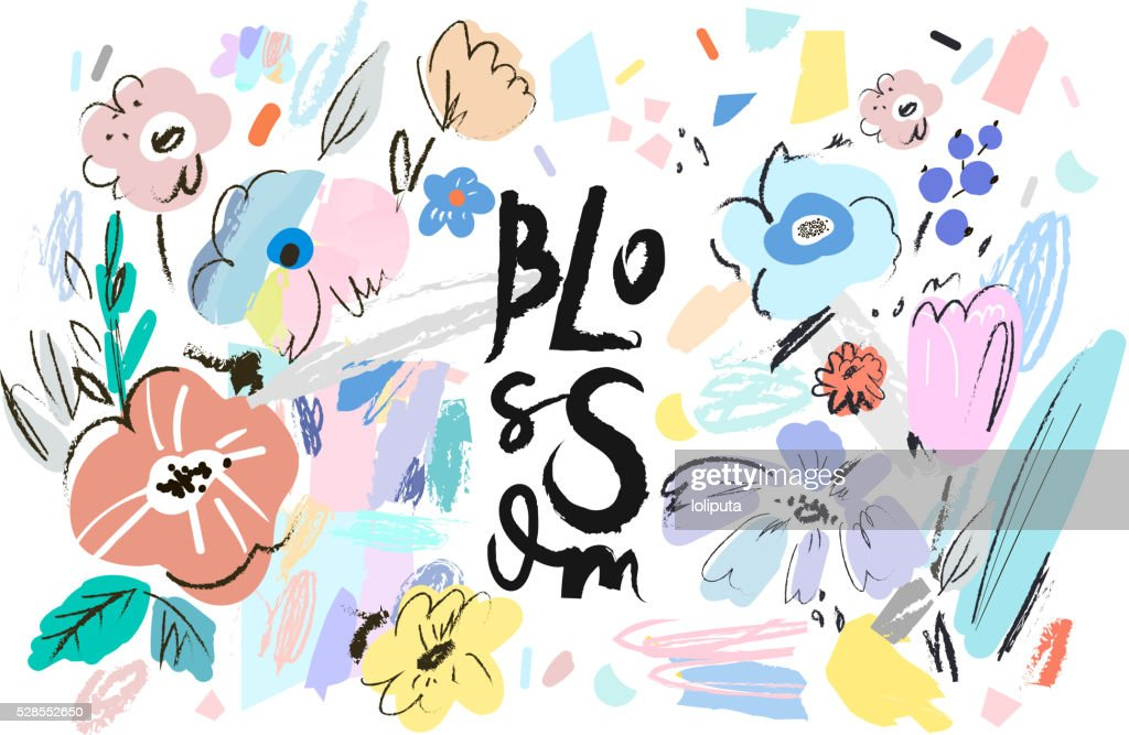 Banner with beautiful flowers. Vector floral header