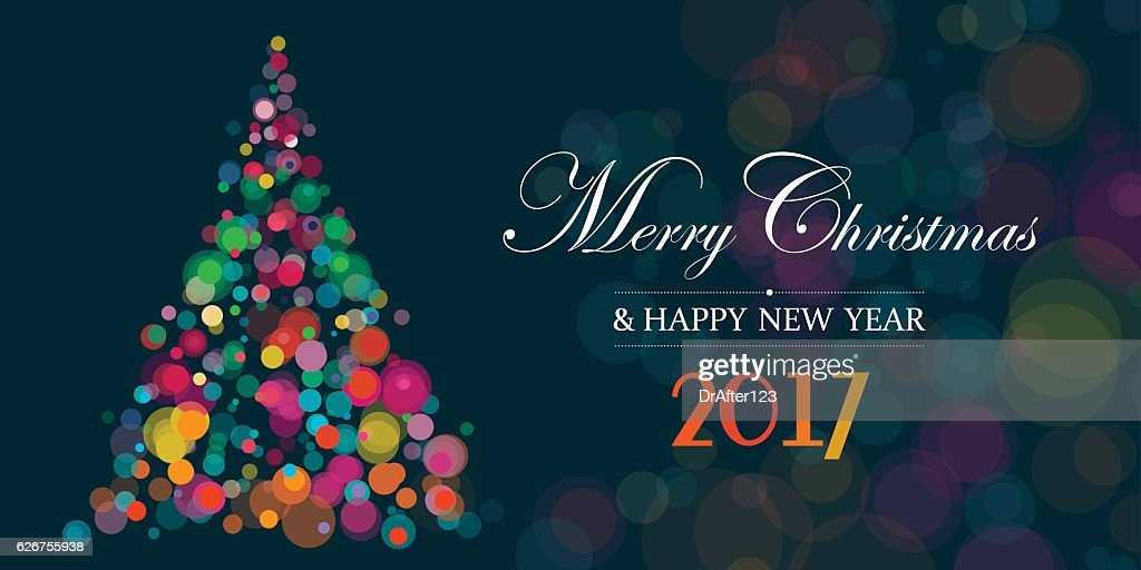 Banner With Christmas Tree On Dark Background
