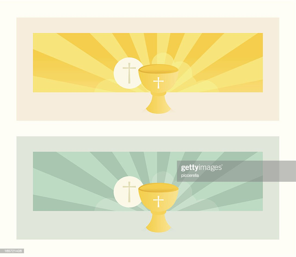 Banner with Communion Bread and Wine Chalice