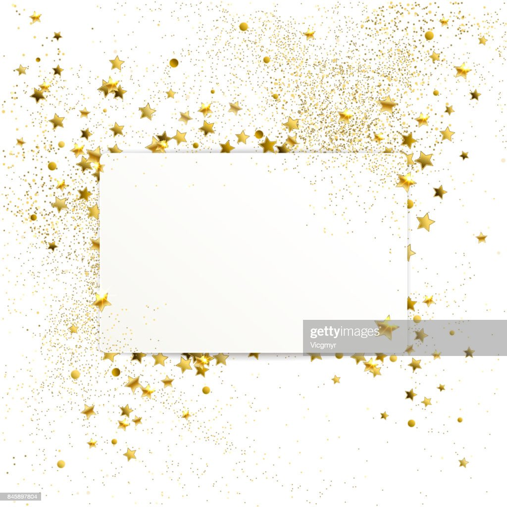 Banner with Confetti of Gold Stars and Sparkles