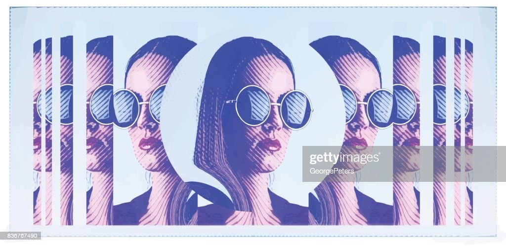 Banner with engraving portrait of beautiful young woman wearing round sunglasses