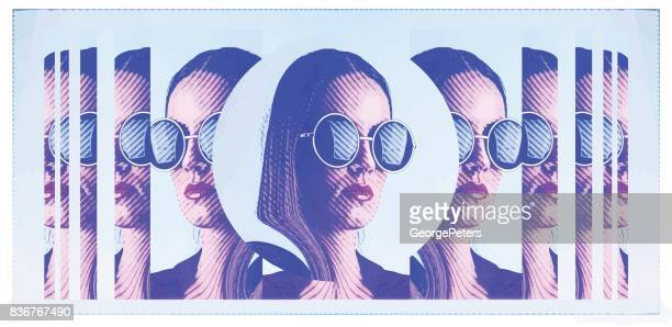 banner with engraving portrait of beautiful young woman wearing round sunglasses - multiple exposure stock illustrations, clip art, cartoons, & icons