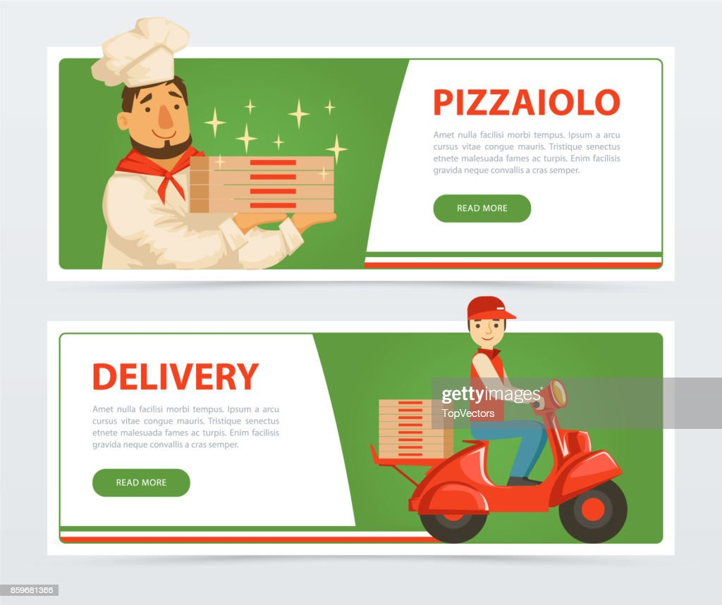Banner with italian pizzaiolo and delivery service courier