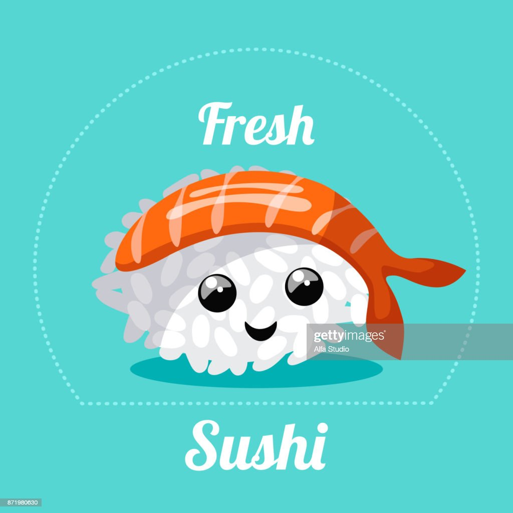 Banner with Japanese sushi . Vector illustration.