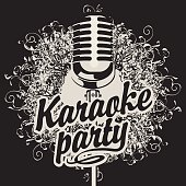Banner with microphone for karaoke party