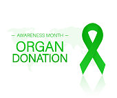 Banner with Organ Transplant and Organ Donation Awareness Realistic Green Ribbon. Vector illustration.