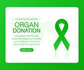 Banner with Organ Transplant and Organ Donation Awareness Realistic Green Ribbon. Vector illustration.