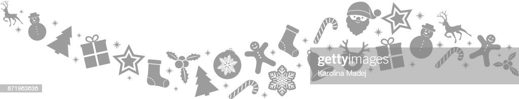 Banner with silver Christmas ornament. Vector.