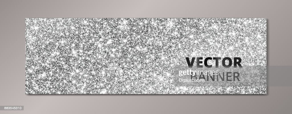 Banner with silver glitter background. Sparkling diamonds, vector dust.