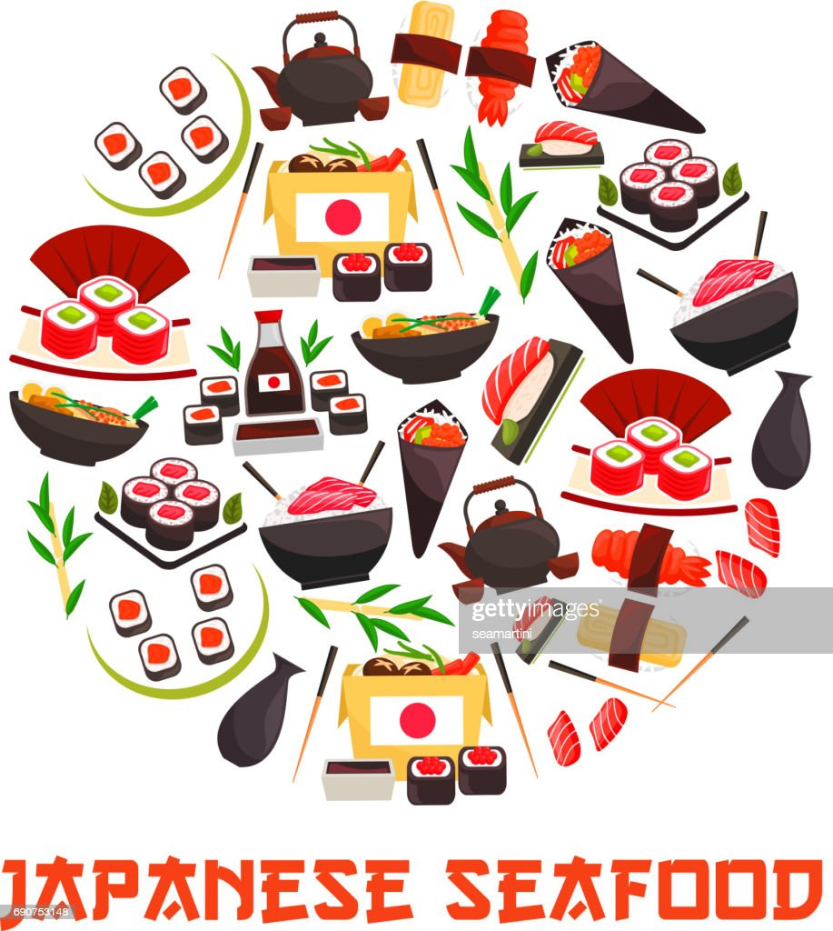 Banner with sushi rolls, japanese cuisine