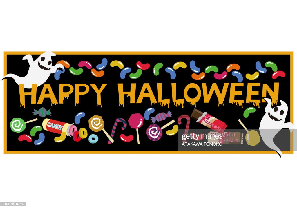 Banner with sweets.Autumn material collection. Material collection for Halloween. Material of October.