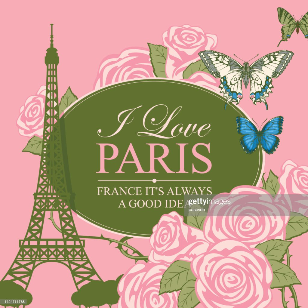 banner with the Eiffel tower, roses and butterfly