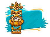 Banner with Tiki ethnic traditional tribal mask