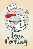 banner with words Love Cooking and smiling chef