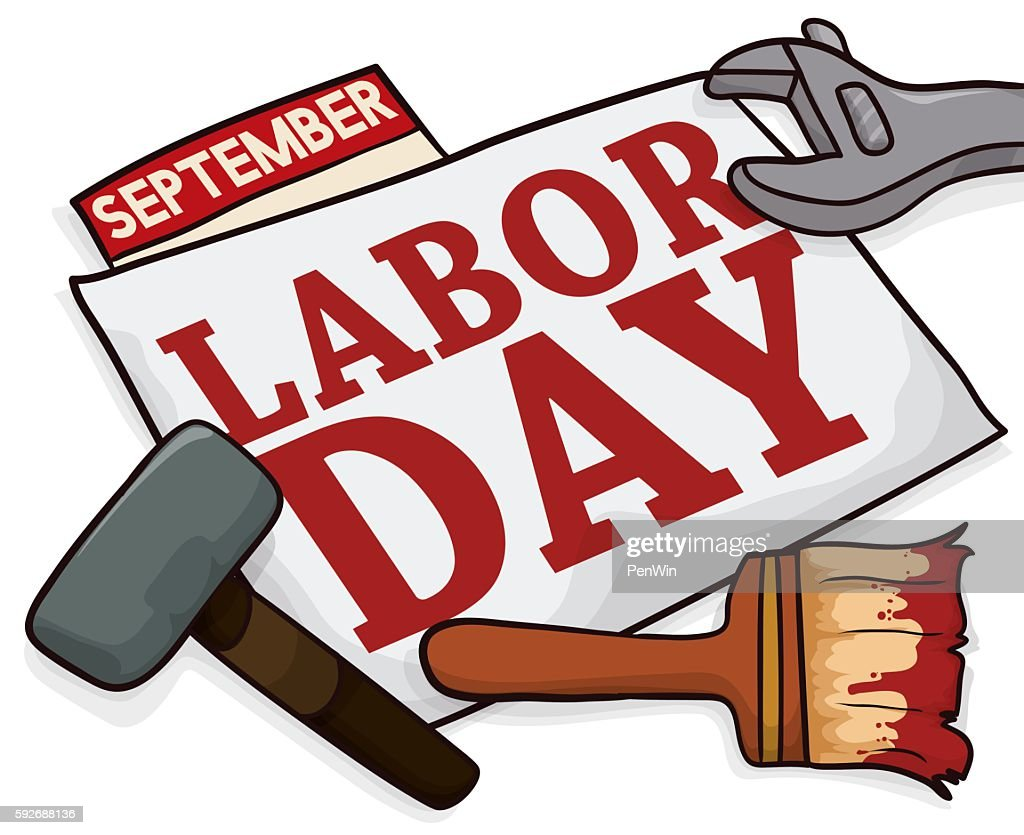 Banner with Work Tools to Celebrate Labor Day