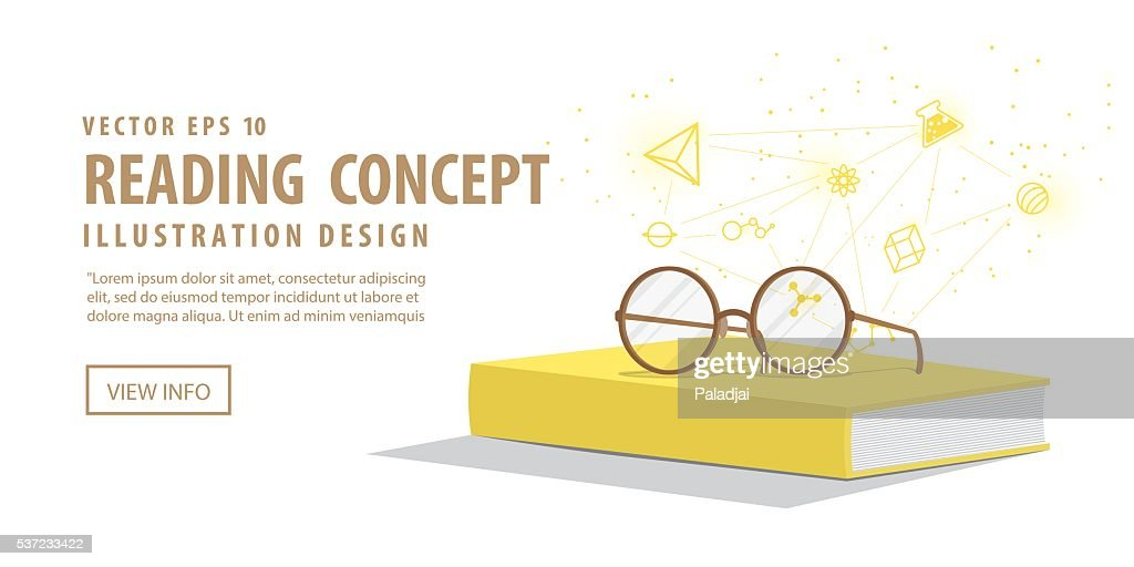 Banner Yellow book with glasses resting on top and icons.