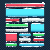 Banners and buttons with snow caps and icicles vector set