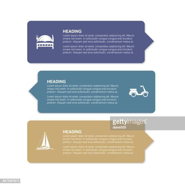 Banner und Etiketten mit Reise-Ikonen