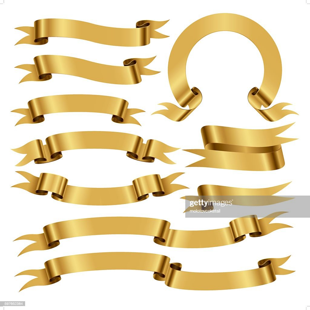 banners and scrolls in gold color