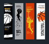 Banners, design for basketball. Sport vector illustration, Templates. Grunge style, polygon. EPS file is layered(clipping mask).