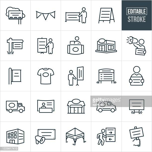 banners, displays and signs thin line icons - editable stroke - exhibition stock illustrations