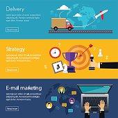 Banners for Web Design Digital Marketing, Delivery, Payment, Online Shop
