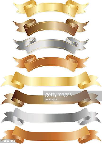 Banners or Ribbons Set - Shiny Metallics