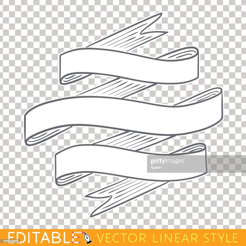 Banners ribbons. Editable line drawing. Stock vector illustration.