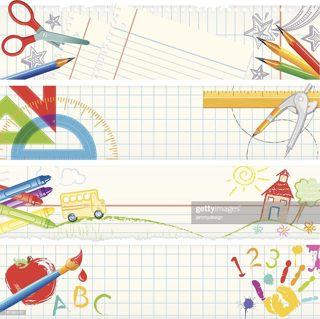 Banners – School Tools : stock illustration