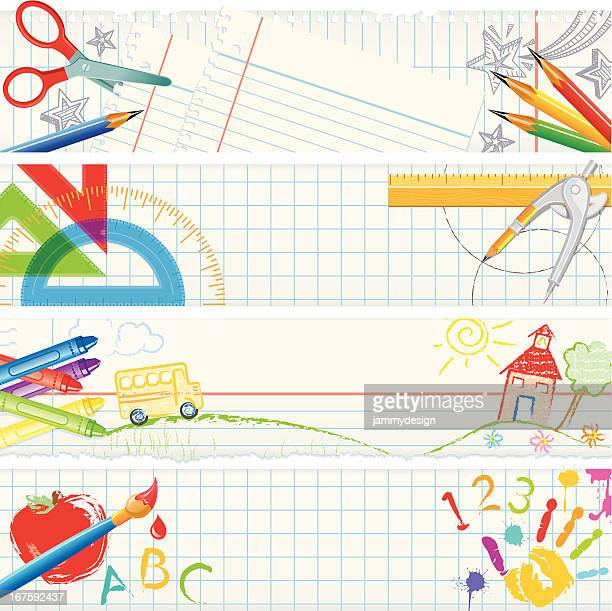 banners – school tools - art and craft stock illustrations