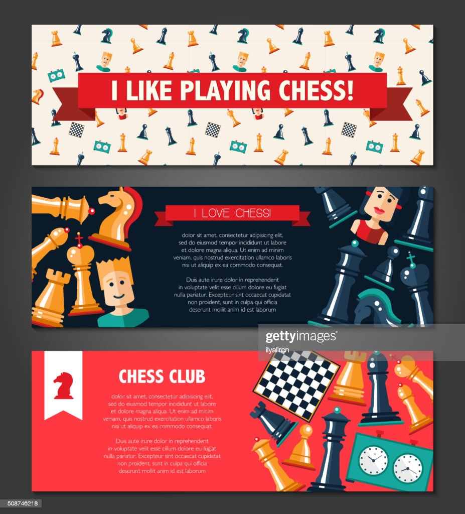 Banners set with flat design chess and players icons